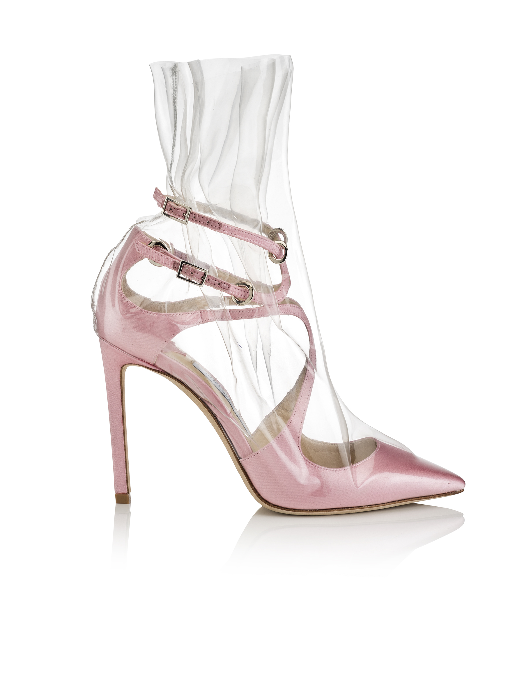 V.COM_OFF-WHITE™ C:O JIMMY CHOO_CLAIRE 100 - SATIN W ROUCHED TPU OVERLAY - PINK, TRANSPARENT